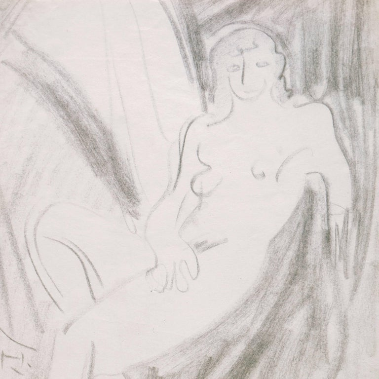 California Post-Impressionist Figural Drawing, 'Seated Nude', LACMA, Louvre For Sale 1