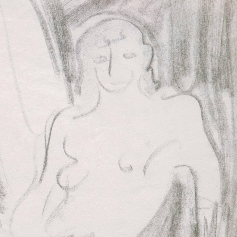 California Post-Impressionist Figural Drawing, 'Seated Nude', LACMA, Louvre For Sale 2