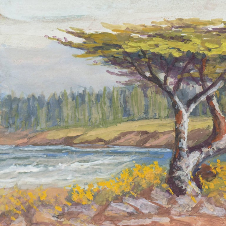 'Lone Cypress, Carmel', California Impressionist, San Francisco de Young Museum - American Impressionist Painting by Alice Hunt Curtis