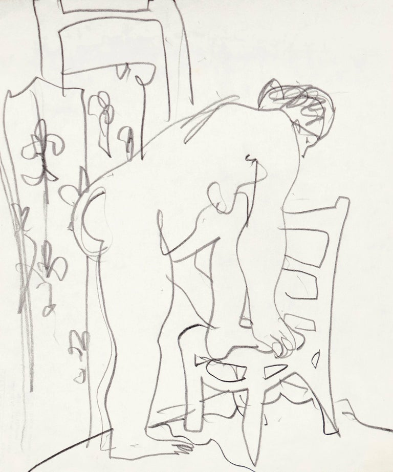 Victor Di Gesu Estate Stamp verso; drawn circa 1955.  Elegant and period graphite drawing of a woman drying herself after bathing.  Winner of the Prix Othon Friesz, Victor di Gesu first attended the Chouinard Art School before moving to Paris where