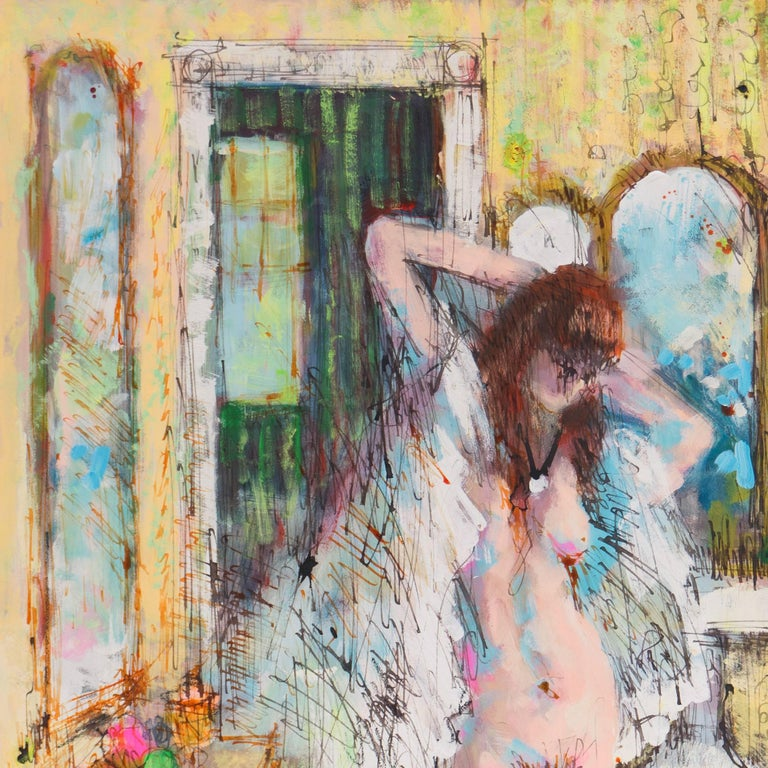 Signed indistinctly lower right, 'Gary P....' and dated 1976; additionally signed verso with a 1977 dedication.  Study of a nude woman standing in a bathroom beside an old fashioned claw-foot bathtub.