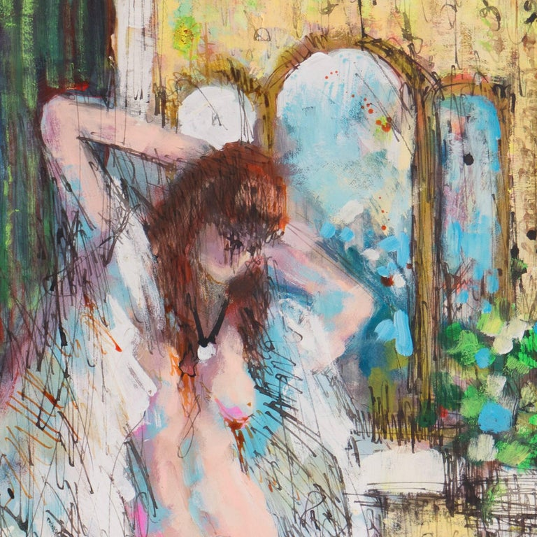 Nude in Interior - Beige Figurative Painting by French School
