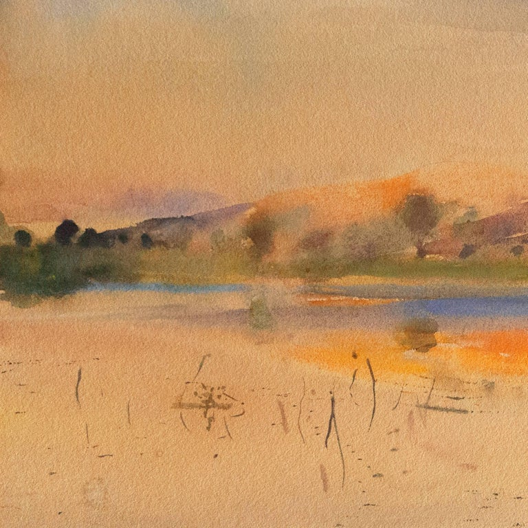 Late Sunset, California - Brown Landscape Art by Karl Yens