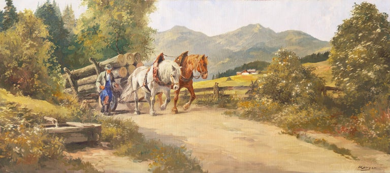 Signed lower right, 'Karger' and painted circa 1930.  A substantial and period, early-20th-century oil landscape showing a team of heavy draft-horses pulling a logging cart along a hillside path with a view of distant mountains.  Eric Reinhold