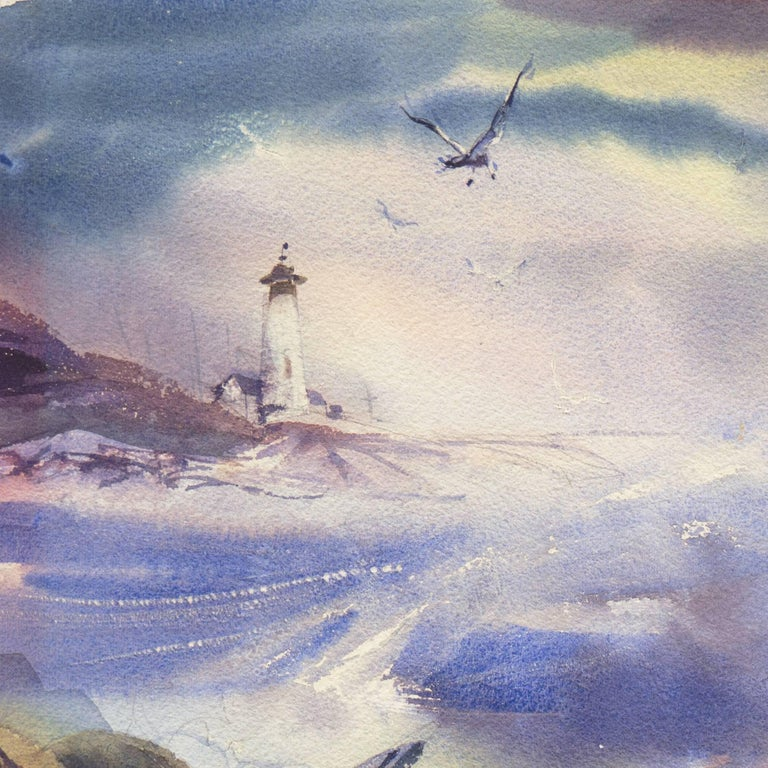 'After the Storm', Impressionist Seascape - Gray Landscape Art by Donald Sumner