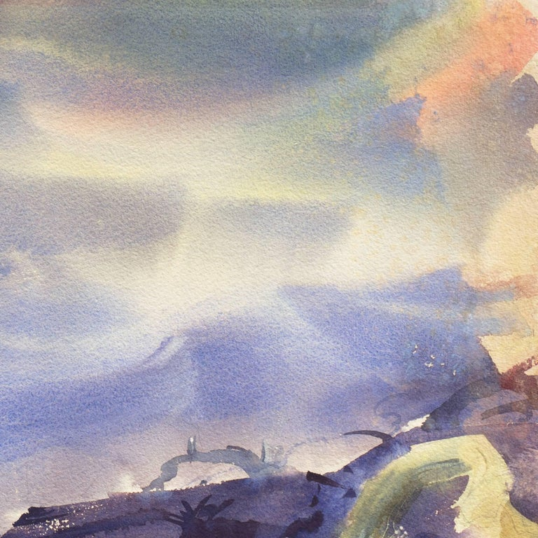 A lyrically painted, mid-century watercolor showing a seagull hovering suspended above a turbulent ocean with dramatic and play of light between clouds and mist and with a view towards a lighthouse in the distance. An exceptionally fine and complex