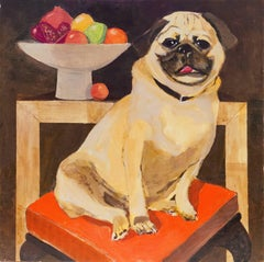 'Still Life with a Pug', Modernist Animal Portrait
