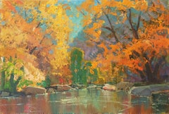 'Fall Colors' Large Oil by San Diego, California Artist, Chouinard Art Institute