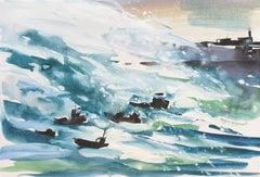 English Seascape, 'Storm at Folkestone Harbor', Kent