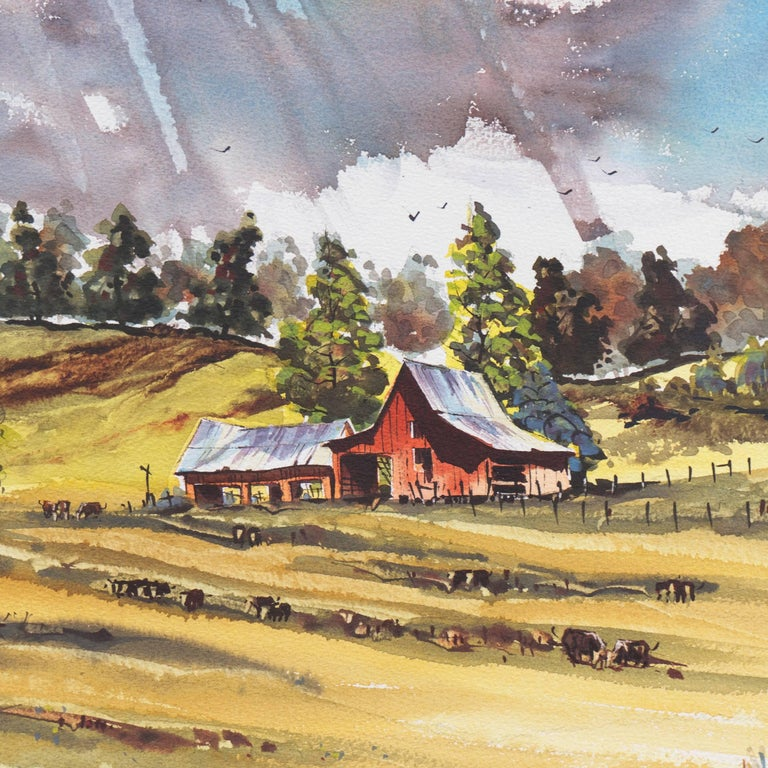 Peaceful Valley   (Rural, Country, Farm, Impressionism, green, blue) For Sale 2