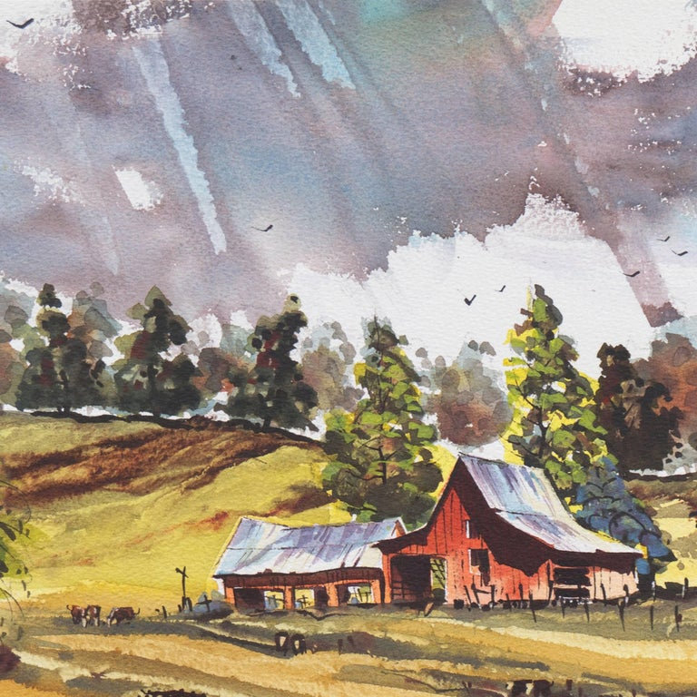 Peaceful Valley   (Rural, Country, Farm, Impressionism, green, blue) For Sale 4