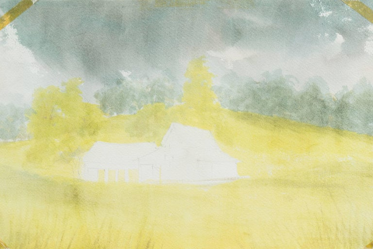 Peaceful Valley   (Rural, Country, Farm, Impressionism, green, blue) For Sale 7