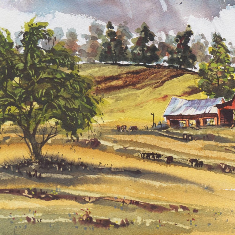 Peaceful Valley   (Rural, Country, Farm, Impressionism, green, blue) For Sale 6