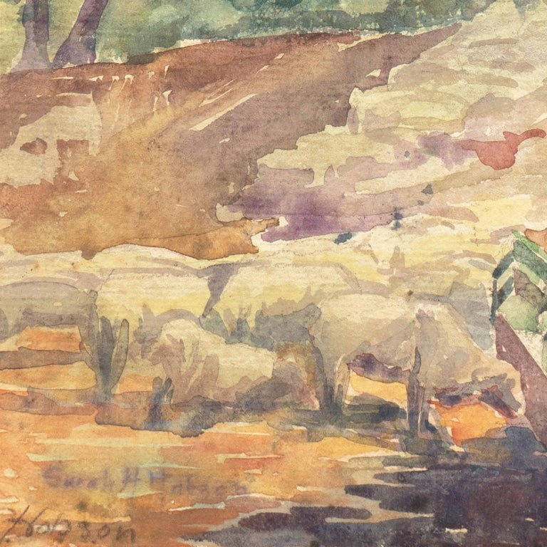 'Landscape with Sheep Grazing', Art Institute of Chicago, Woman Artist - Brown Landscape Art by Sarah Hobson