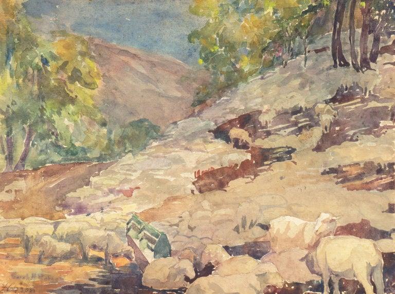 Sarah Hobson Landscape Art - 'Landscape with Sheep Grazing', Art Institute of Chicago, Woman Artist