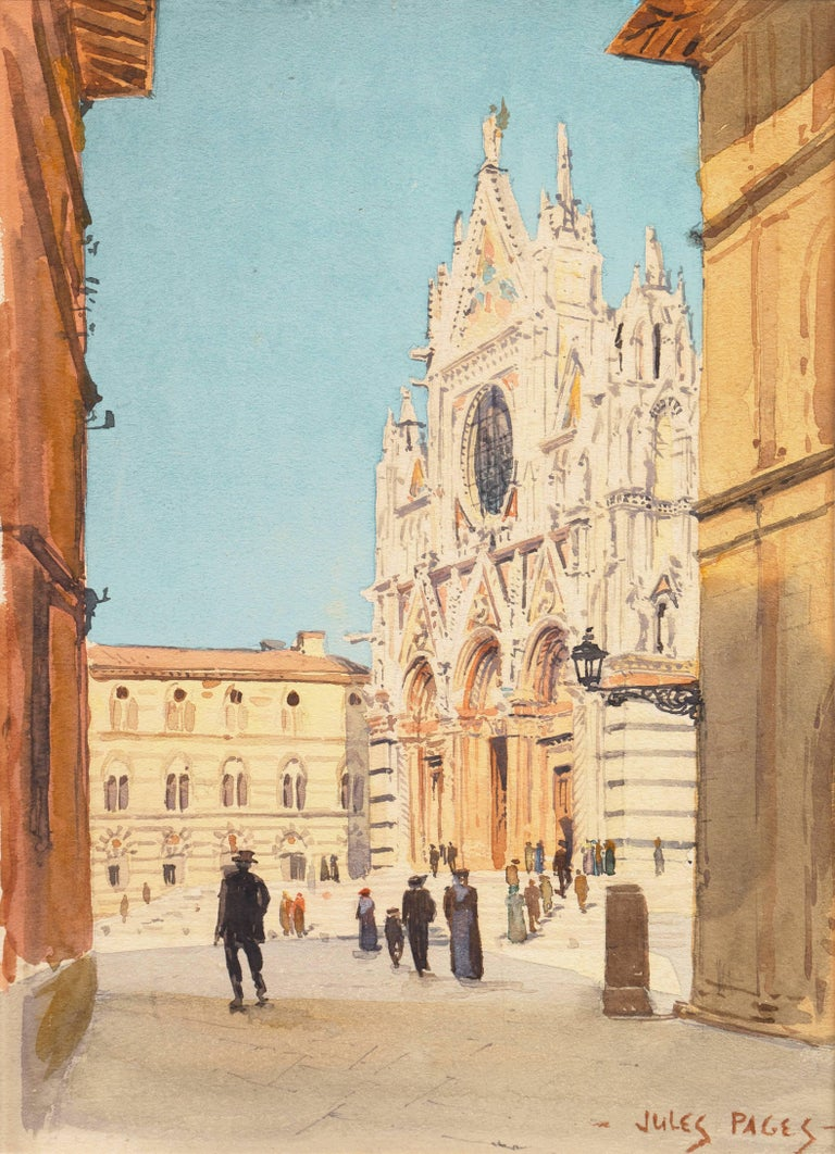 Jules Pages Landscape Art - Piazza del Duomo, Siena   (California, Italy, Cathedral, architectural study)