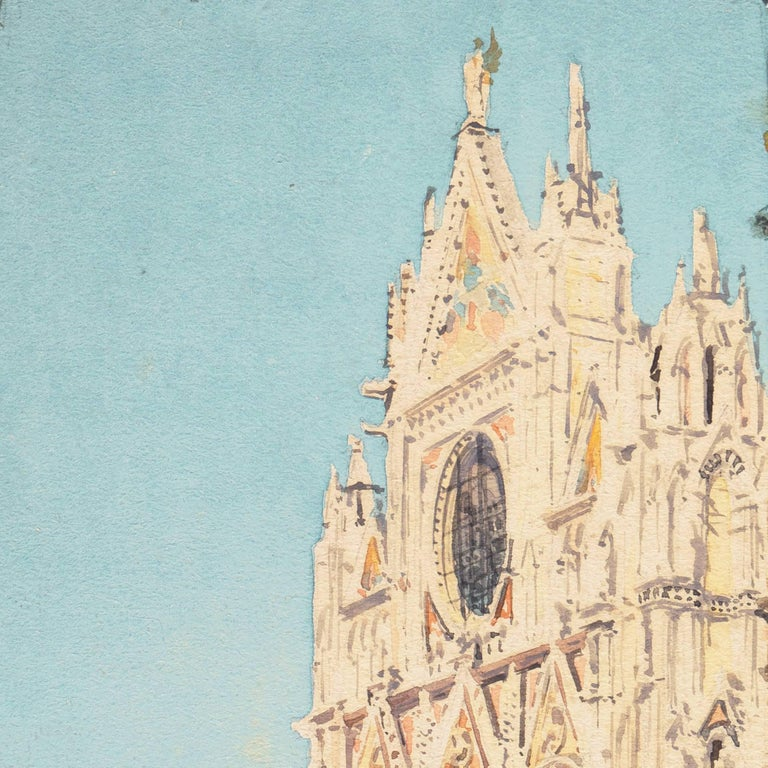 Piazza del Duomo, Siena   (California, Italy, Cathedral, architectural study) - Impressionist Art by Jules Pages