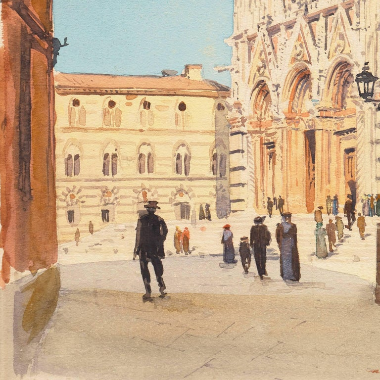 A delicate and intimate, early 20th century watercolor view of  the high Gothic, Italo-Byzantine facade of the Siena Cathedral overlooking Piazza del Duomo.  Signed lower right, 'Jules Pages' (American, 1867-1946) and painted circa 1925.  A