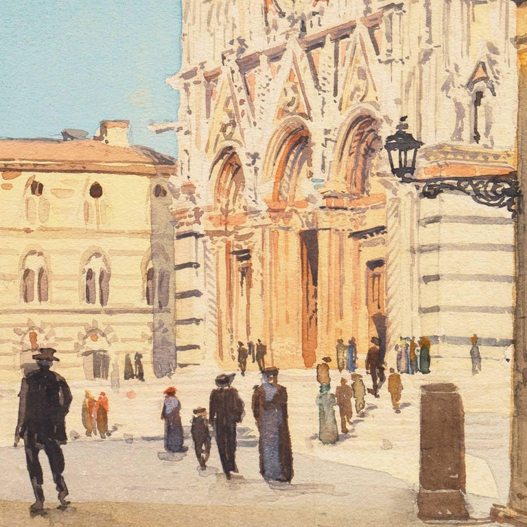 Piazza del Duomo, Siena   (California, Italy, Cathedral, architectural study) - Beige Landscape Art by Jules Pages