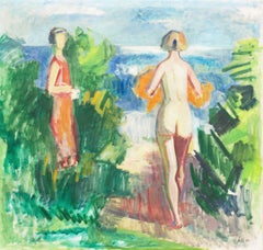 'Bathers at the Beach', Large Danish Post Impressionist Oil, Paris, Benizet