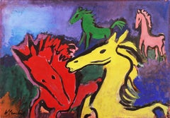 Horses at Play   (Modernism, Fauvism, Post-Impressionism, blue, red, yellow)