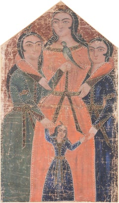 18th century Qajar Dynasty Persian Princesses, Sisters with a Songbird ( Zaman)