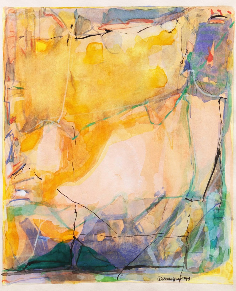Abstract in Rose and Saffron   (Contemporary, American, Gold) For Sale 1