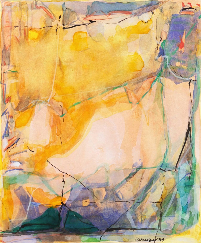 A delicately painted watercolor and India ink abstract comprising adjacent and overlapping organic forms in variegated shades of saffron, lilac, rose, terracotta, indigo and forest green.   Signed lower right and dated 1994.  Originally from Fort