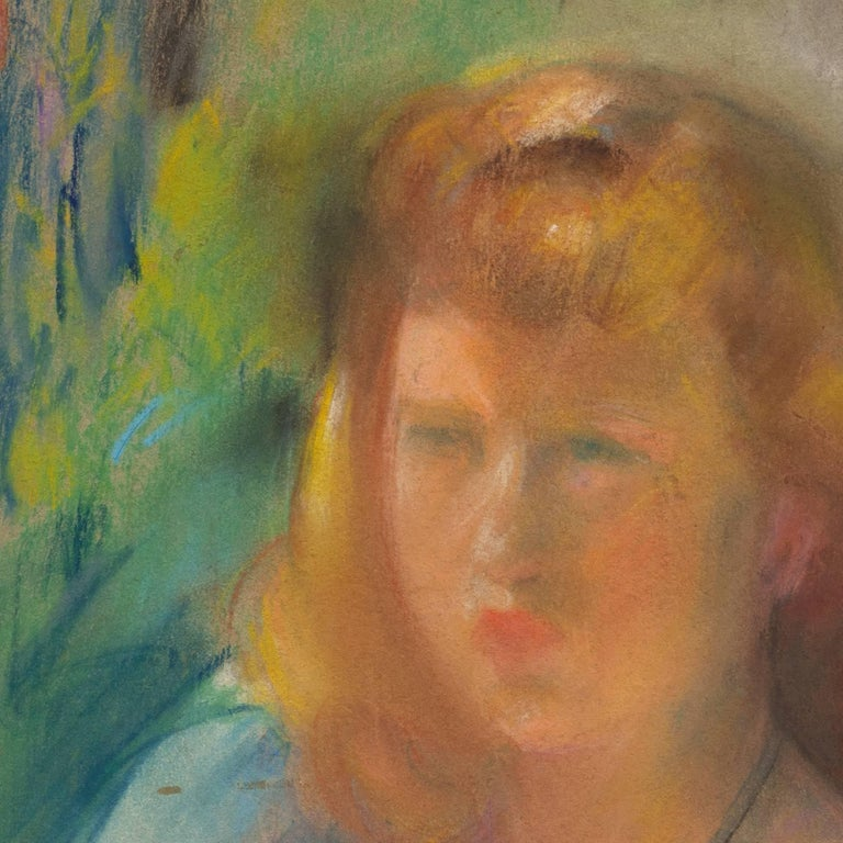 Signed lower left, 'Sarah H. Hobson' and painted circa 1935.  A sensitively drawn pastel study of a young woman with red hair shown wearing a blue dress and gazing to the viewers right.  Sarah Villarette Hoover Hobson studied at the Art Institute of