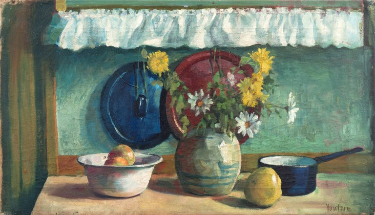 Mogens Erik Christien Vantore Still-Life Painting - 'Yellow & White Daisies', Danish Post-Impressionist, Paris Salon, Benezit