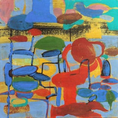 Abstract in Red and Blue   (Contemporary, Large, Sea Themed)