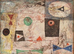 Geometric Abstract    (style of Juan Miro, mid-century, scumbling)