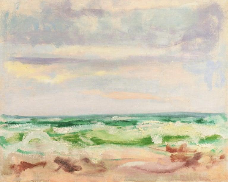 Mogens Valeur Landscape Painting - Ocean Breakers at Sunset