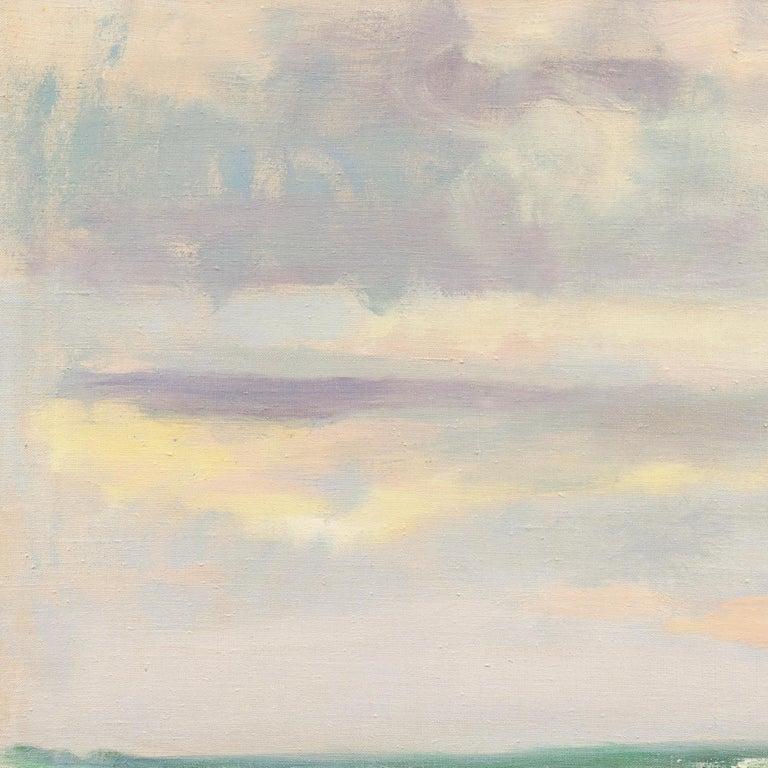 Ocean Breakers at Sunset - Beige Landscape Painting by Mogens Valeur