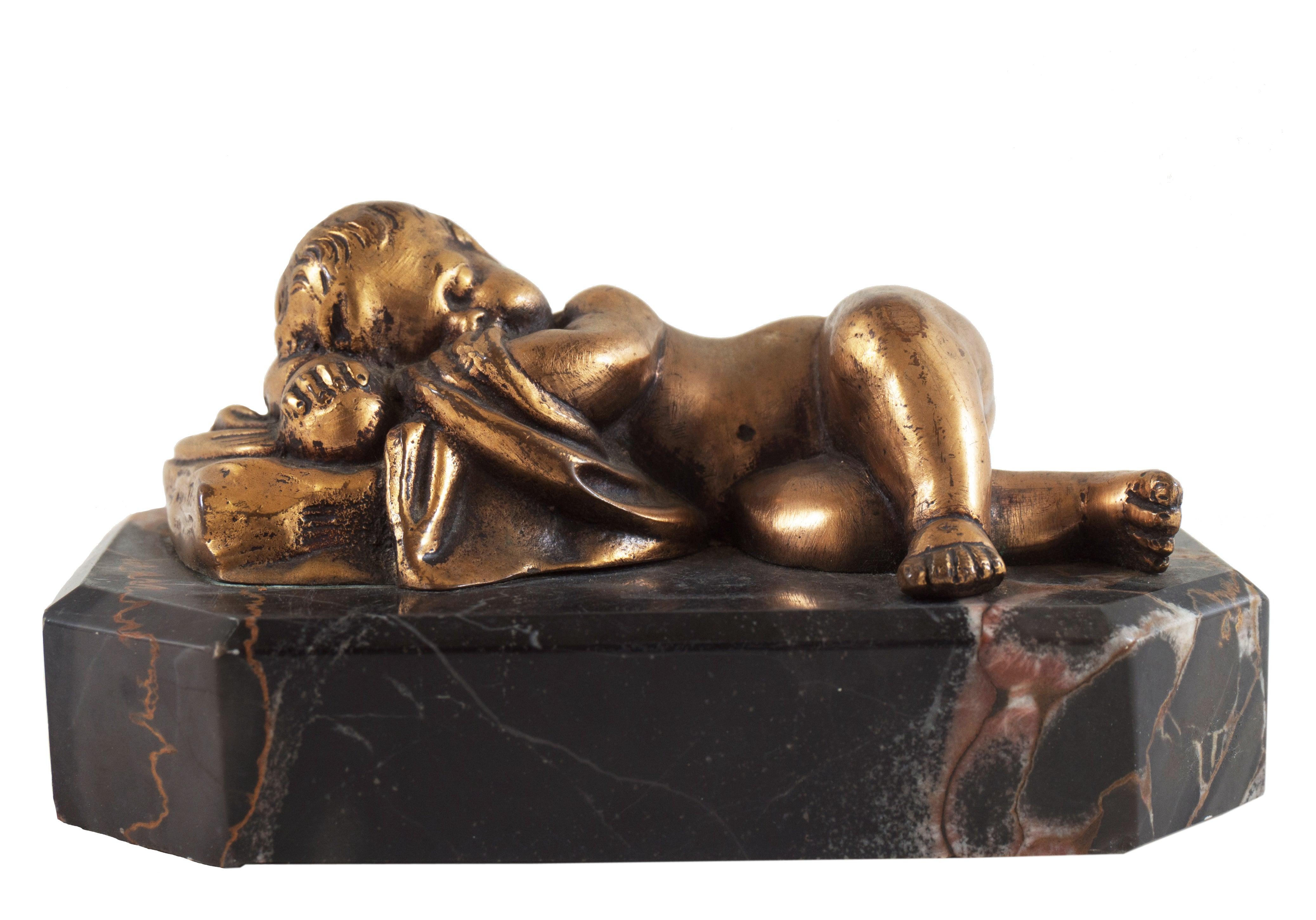 'Sleeping Cherub' Small Beaux Arts gilt-bronze sculpture on Portoro Marble Base