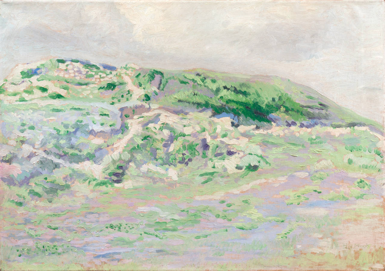 'Coastal Dunes, Ivory and Lilac', Early Dutch Post-Impressionist oil Landscape