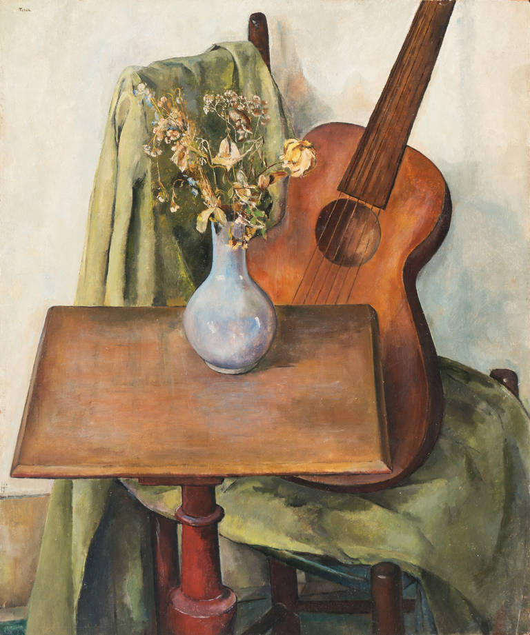 'Still Life with Guitar', Art Deco Woman Artist, National Academy of Design, ASL