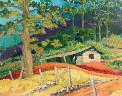 'Burlingame, San Mateo', Post-Impressionist landscape by California WPA artist