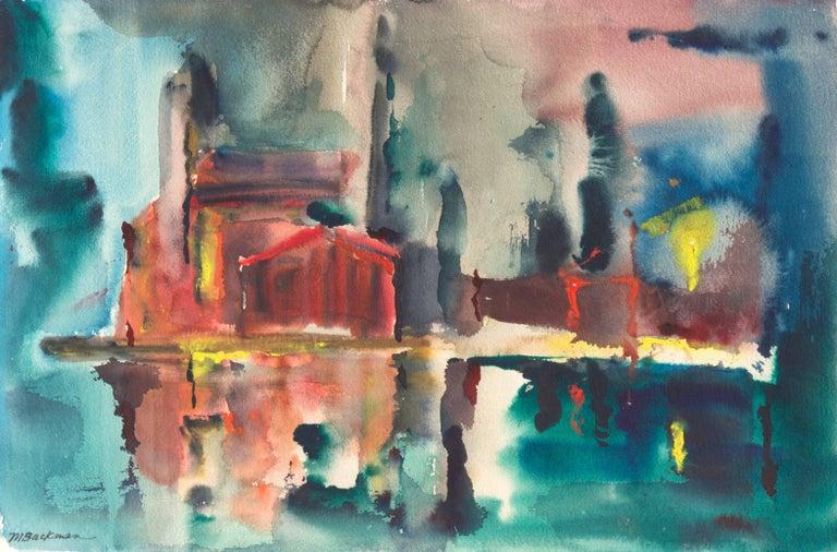 Muriel Backman Landscape Painting - 'Fort Bragg Lumber Mill', Woman Artist, California Post-Impressionist