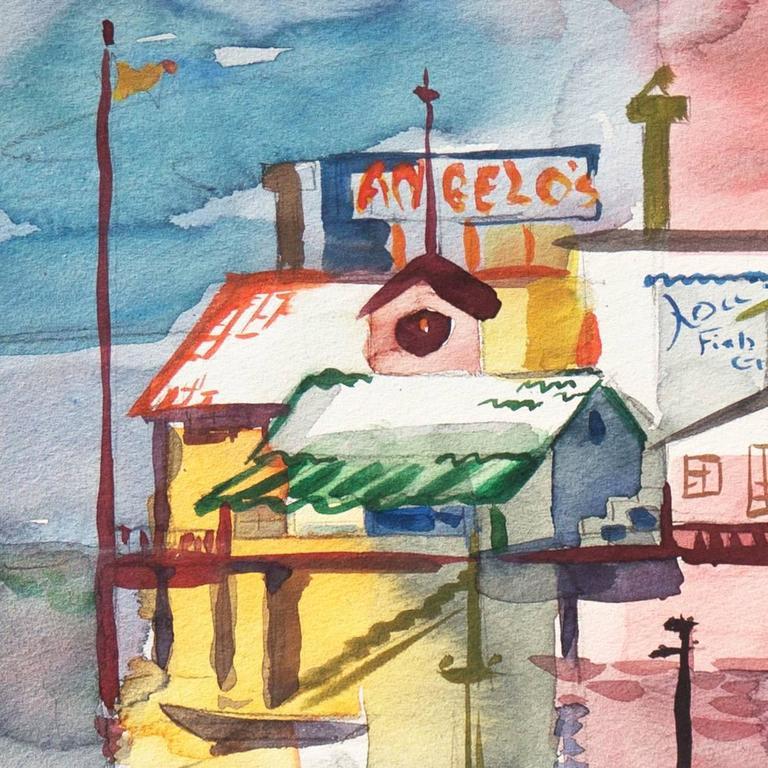 'Monterey Pier', California Modernist, Woman Artist, Santa Cruz Art League - American Modern Painting by Muriel Backman