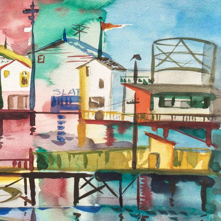 'Monterey Pier', California Modernist, Woman Artist, Santa Cruz Art League - Gray Landscape Painting by Muriel Backman