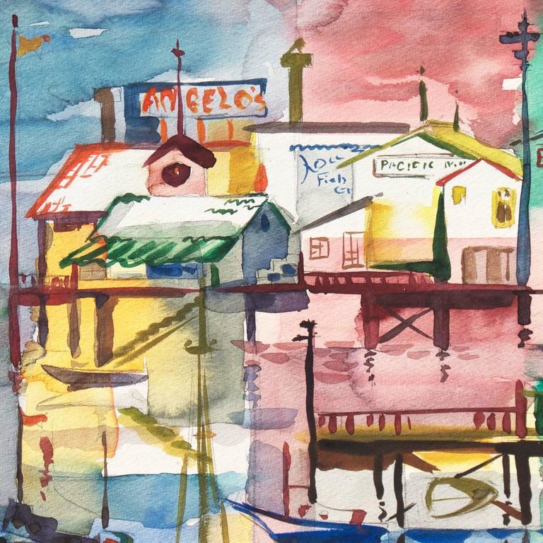 'Monterey Pier', California Modernist, Woman Artist, Santa Cruz Art League - Painting by Muriel Backman