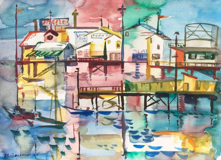 Muriel Backman Landscape Painting - 'Monterey Pier', California Modernist, Woman Artist, Santa Cruz Art League