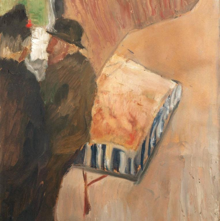 'The Old Barrel-Organ Grinder', Charlottenborg, Danish Post-Impressionist Oil - Brown Figurative Painting by Carl Fischer