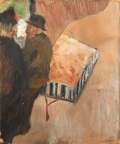 'Organ Grinder, Paris', Danish Post-Impressionist Figural Oil, Charlottenborg