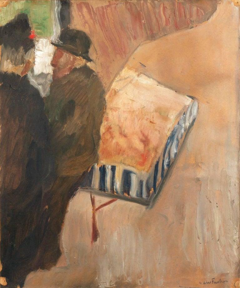 Carl Fischer Figurative Painting - 'The Old Barrel-Organ Grinder', Charlottenborg, Danish Post-Impressionist Oil