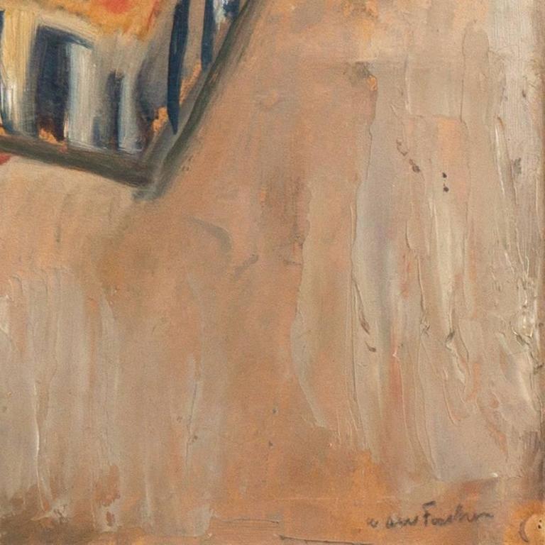 'The Old Barrel-Organ Grinder', Charlottenborg, Danish Post-Impressionist Oil - Painting by Carl Fischer