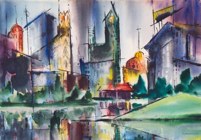 Muriel Backman Landscape Art - Modernist Illinois Cityscape, 'Lakeshore, Chicago', California Woman Artist