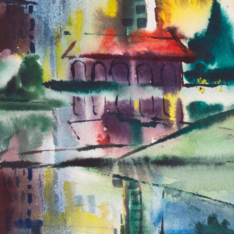 Modernist Illinois Cityscape, 'Lakeshore, Chicago', California Woman Artist For Sale 4