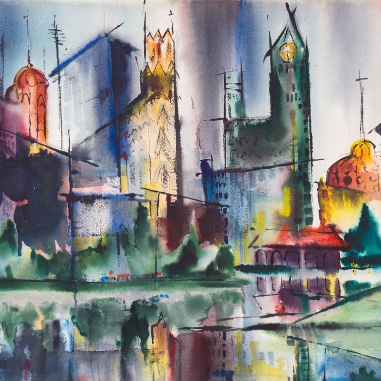 Modernist Illinois Cityscape, 'Lakeshore, Chicago', California Woman Artist - Gray Landscape Art by Muriel Backman